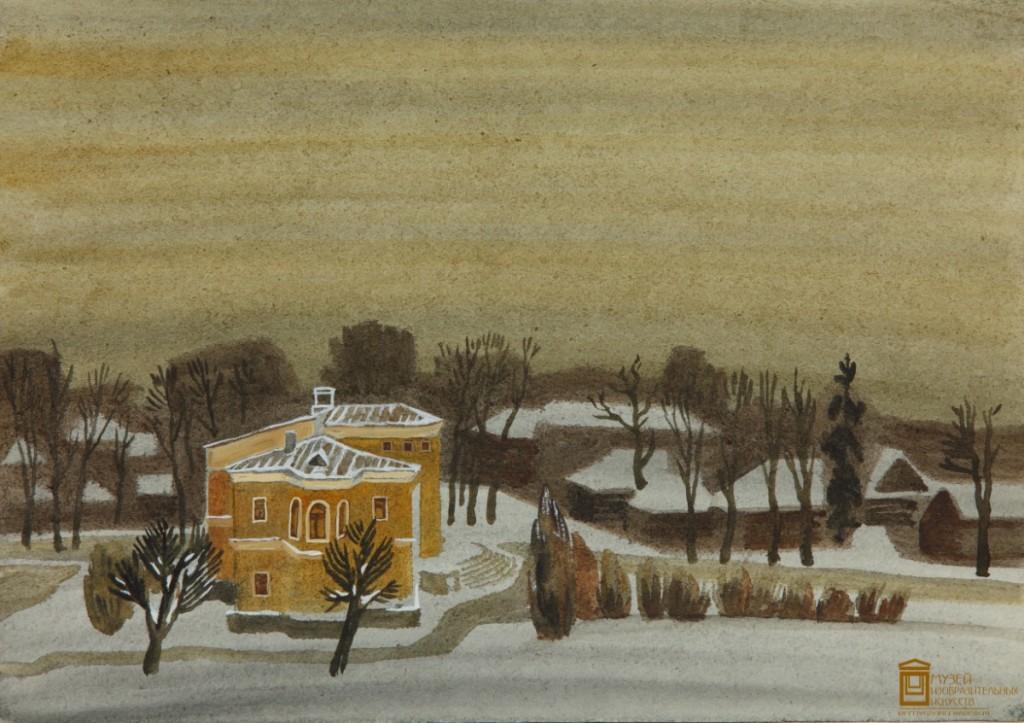 Кошелев В.М. Зима в Петрозаводске. 1989. Бумага, акварель. МИИ РК