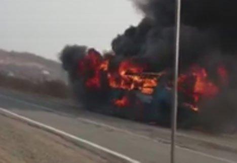 В Приморье сгорел дотла пассажирский автобус (видео)