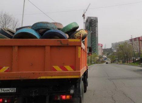 Владивосток избавляется от старых покрышек