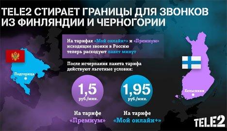 Tele2 стирает границы для звонков из Финляндии и Черногории