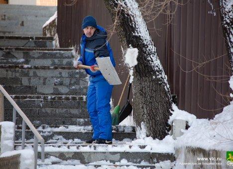 Управляющие компании Владивостока присоединились к уборке снега