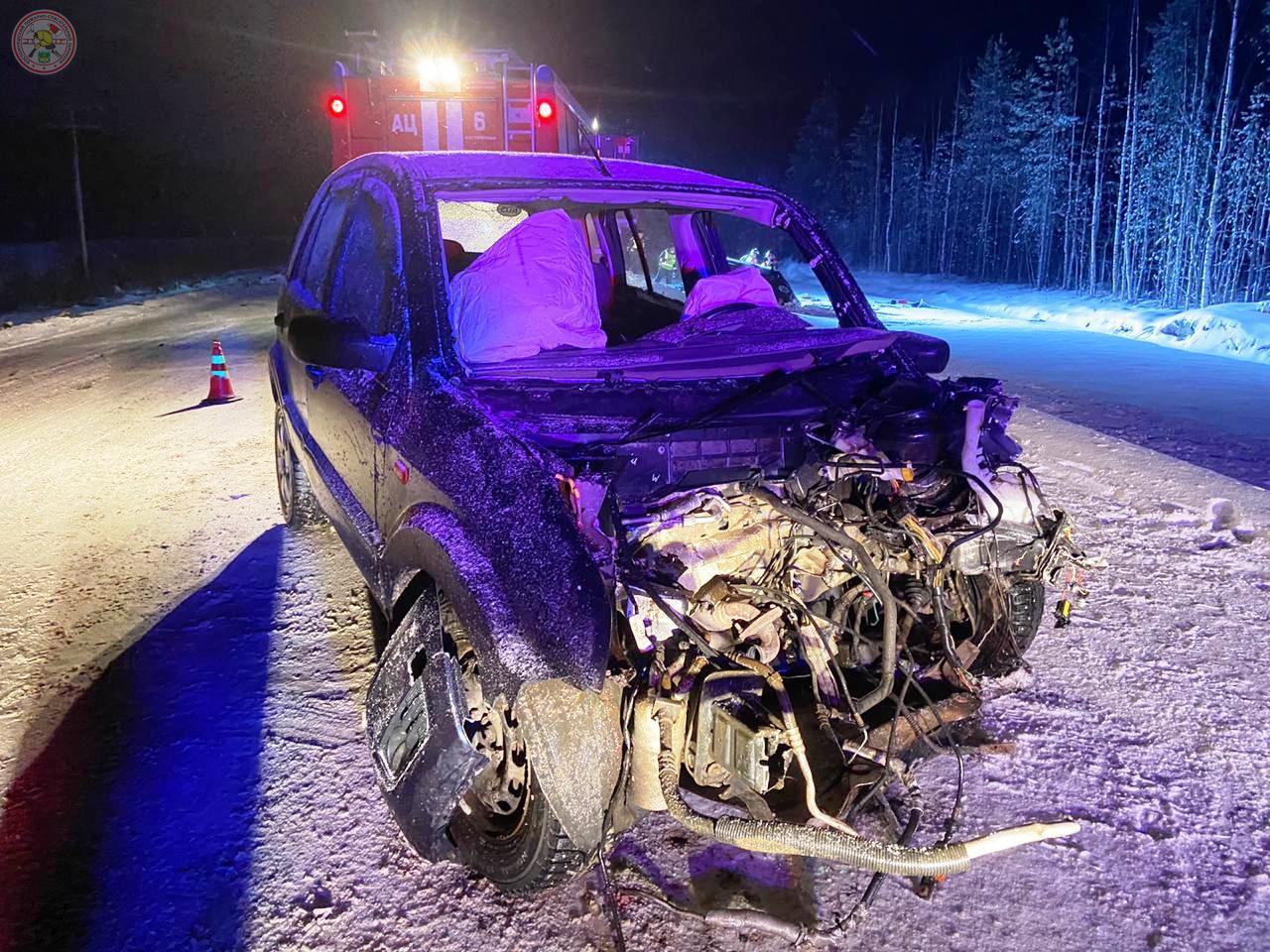 Пострадавший Ford Fusion. Фото: Второй пожарно-спасательный отряд Карелии